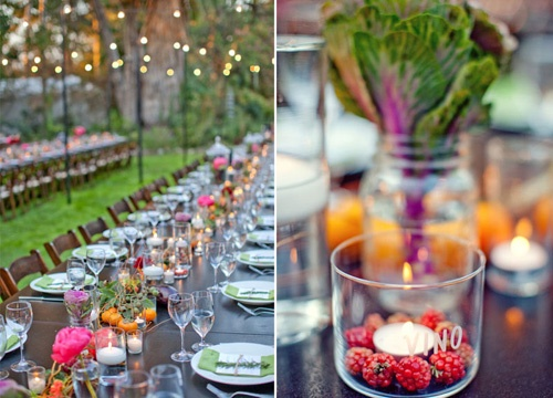 decoration: Enchanted Gardens Wedding, Wedding Receptions, Candles, Real Wedding, Wedding Blog, Centerpieces, Mason Jars, Long Tables, Berries