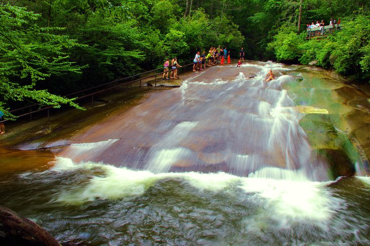 Sliding Rock, North Carolina, natural waterslide near Asheville and Brevard in Pisgah National Forest