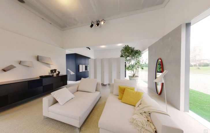 Home Design, Round Mirror Wall Indoor Potted Plant Carpet Black Cabinet White Sofa Bed Cushion Standing Lamps Pendant Lamp Glass Wall And Porcelain Floor ~ Charming Glass Wall Interior Embracing the Minimalist Home Design