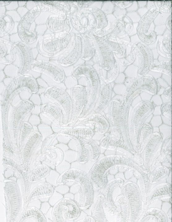 Bridal Inspirations Fabric Ribbon Embroidered Mesh White