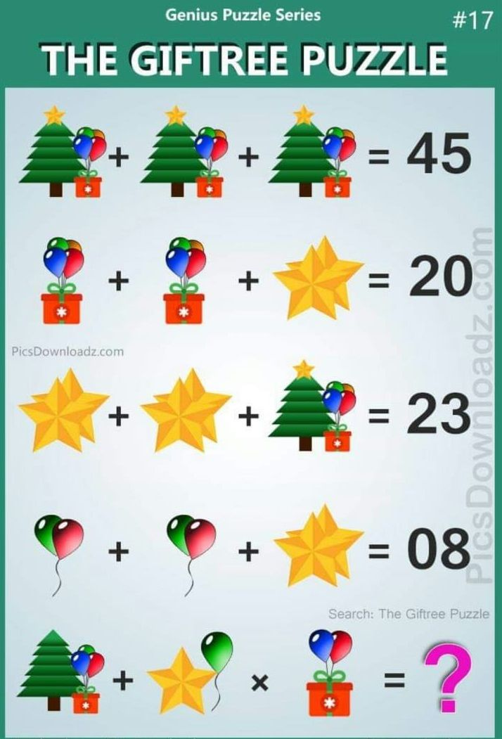 The Giftree Puzzle Answer Forward Junction Puzzles Maths Puzzles Math Logic Puzzles Logic Math