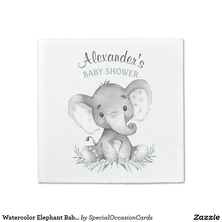 Watercolor Elephant Baby Shower Napkin Zazzle Com Baby