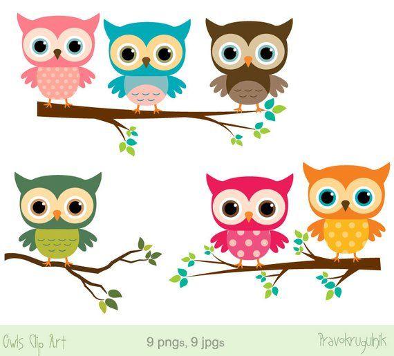 Baby Owl Clip Art Girl Owl Clipart Rainbow Owls On Branches Etsy In 2020 Owl Clip Art Owl Cartoon Baby Owls