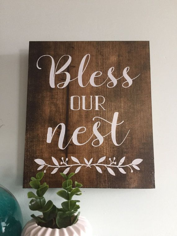 Bless Our Nest, wood sign, wooden sign, farmhouse sign, home decor, rustic sign…