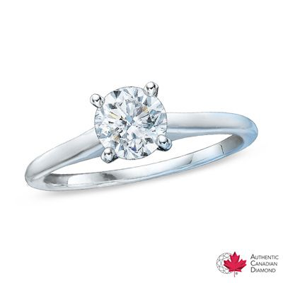 0.95 CT. Certified Canadian Diamond Solitaire Engagement Ring in 14K White Gold (H-I/I2) - Peoples Jewellers