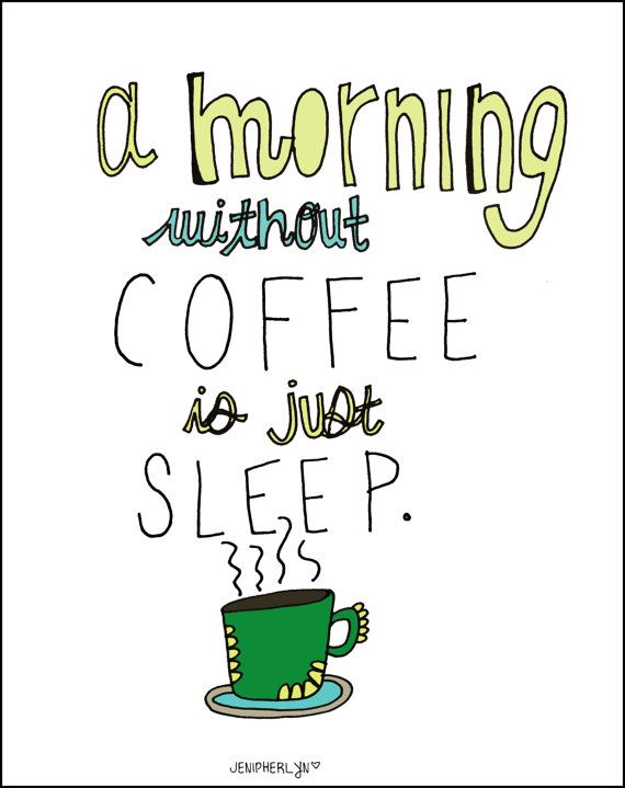Humorous Art  8x10 Coffee Illustration  Kitchen by NightlyDoodles. , via Etsy.