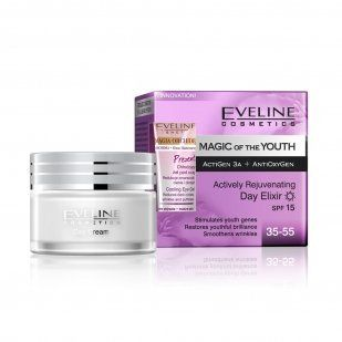 Magic of the Youth Day Elixir 50 Ml. by Eveline Cosmetics. Save 55 Off!. $8.99. Stimulates youth genes. Smoothens wrinkles. Restores youthful brilliance. SPECIALIZED CORRECTION OF ALL AGEING SYMPTOMS Eveline Cosmetics Laboratories inspired with latest scientific discoveries in the field of genes expression, created formula based on unique ActiGen 3aTM complex. Peptides contained in it actively protect the genetic code of the skin. Stimulate skin genes responsible for proper func...