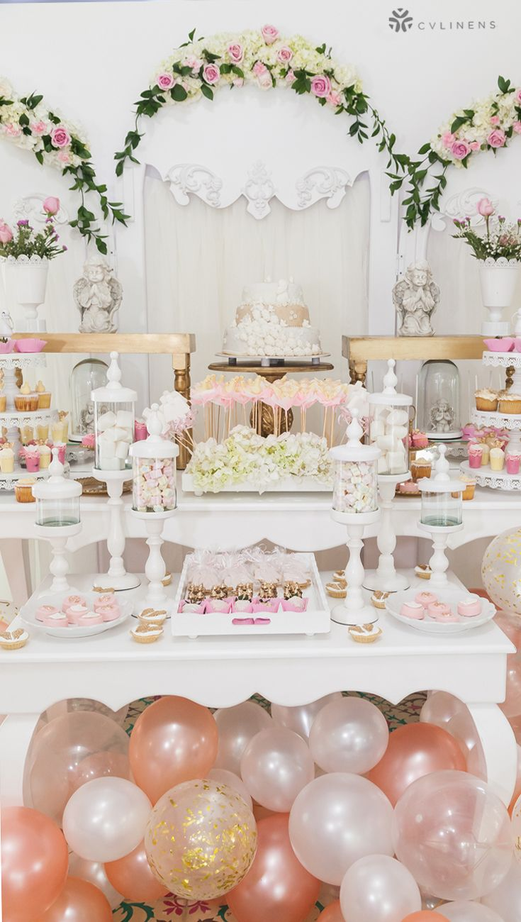 Sweets And Desserts Table For Rose Gold Wedding Reception Birthday Dessert Table Ideas Wedding Wedding Cake Table Wedding Reception Food Simple Wedding Cake