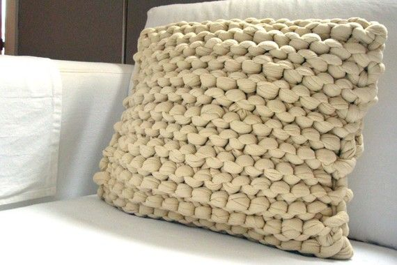 Super Chunky Knit Throw Pillow  Wheat by danasjoy on Etsy
