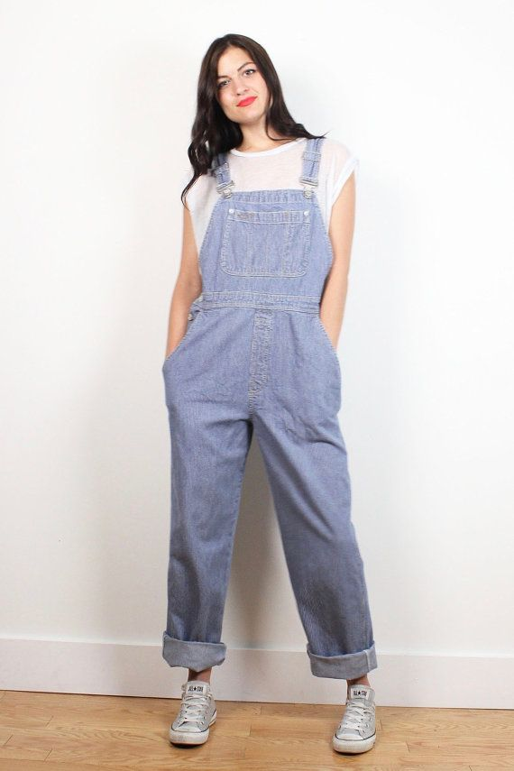 Vintage 90s GAP Overalls Railroad Conductor Striped Blue White Denim Overalls Long Dungarees 1990s Soft Grunge Jumpsuit Romper Jean M Medium #vintage #etsy #1990s #90s #soft #grunge #gap #striped #overalls #dungarees #jeans