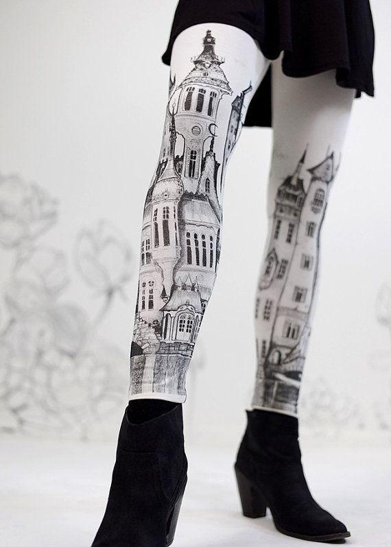 leggings Victorian City leggings by Carousel Ink by Carouselink