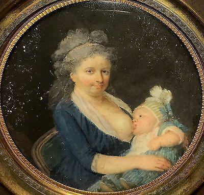 Portrait miniature d'une femme allaitant son enfant, vers 1790 artiste inconnu