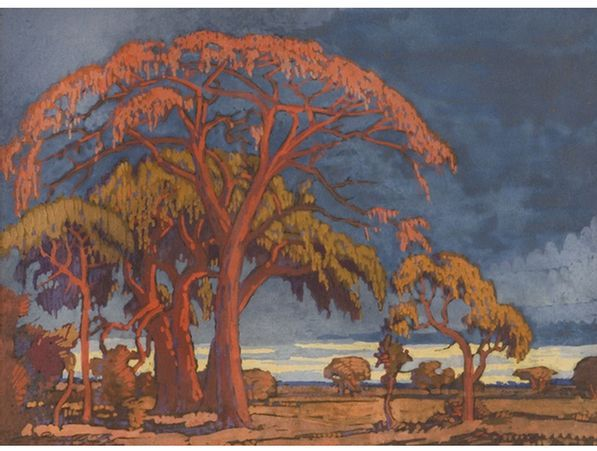 Jacob Hendrik Pierneef; A Landscape with Trees