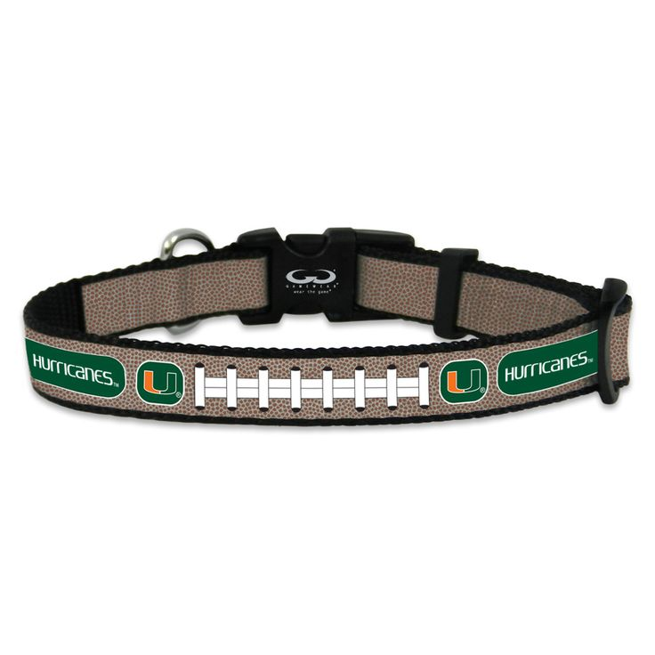 See where your dog is, even at night. This stylish, officially licensed pet collar is crafted from a reflective woven tape adorned with the Miami Hurricanes logo, team name and stitching resembling wh