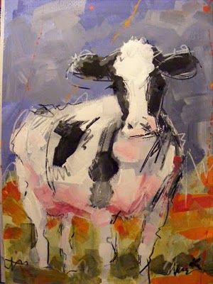 Original cow art painting 'Friese Holsteiner' | Paint with Acrylics & Mixed media