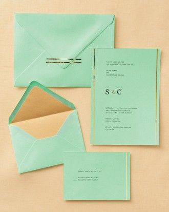 """See the """"Gold-Topped Stationery"""" in our Easy Ways to Upgrade Your Wedding Invitations gallery"""