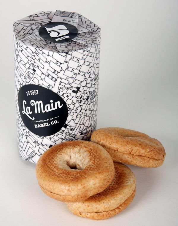La Main Bagel Co. map wrapping black and white.