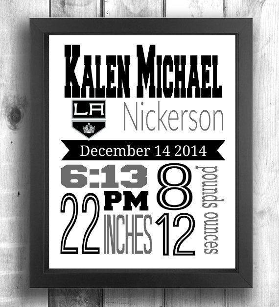 Check out this item in my Etsy shop https://www.etsy.com/ca/listing/258520274/los-angeles-kings-hockey-birth-stats