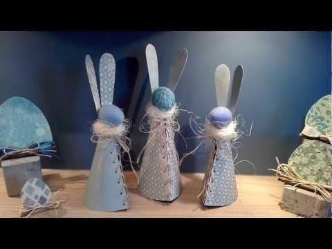 Osterhasen basteln aus Designpapier, Styroporei, Faden oder Fleece-Decke, DIY Ostern - YouTube
