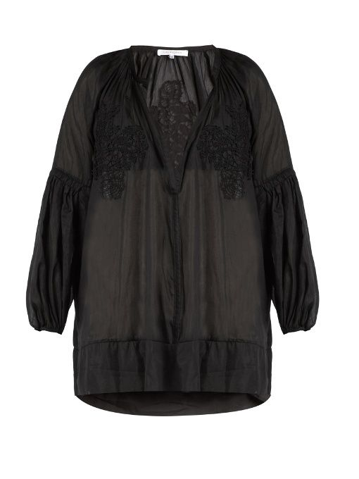 Lila Eugenie Cotton-blend voile cover-up