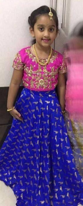 Baby in Blue Printed Lehenga - Indian Dresses