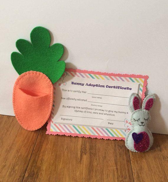Little Bitty Bunny Carrot bed felt toy Adopt a Bunny