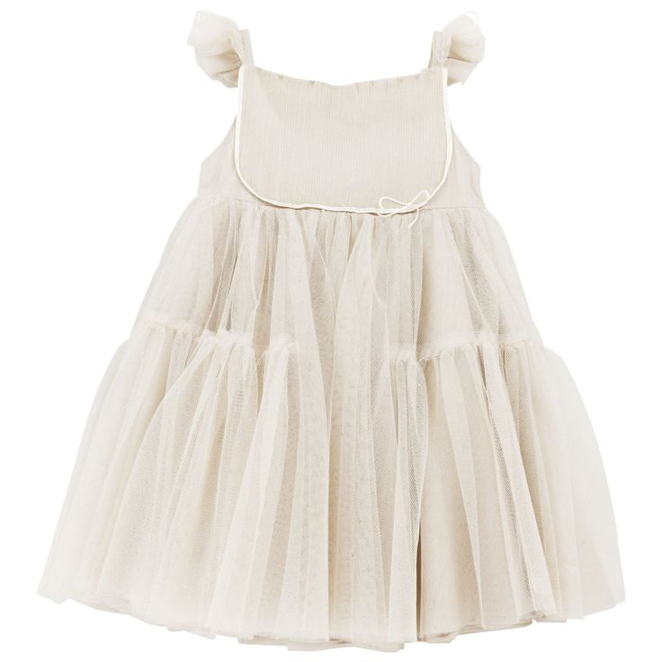 Ballet dancer style dress with straps, made of champagne tulle. Percale lining. Embroidered tulle straps. Invisible side zip. Machine wash on a fragile cycle or dry clean. - 243,75 €