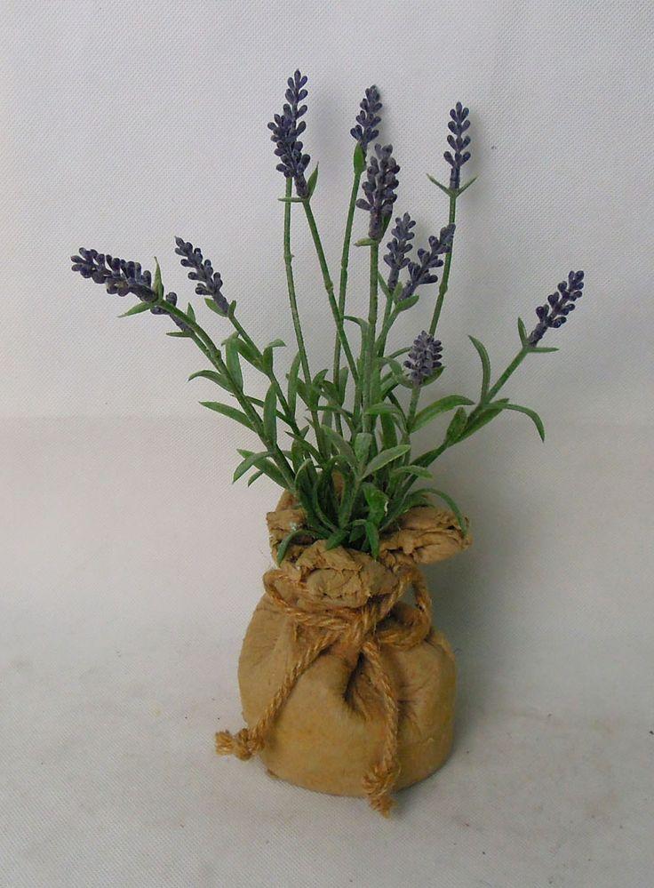 lavender in paper mache bag ,purple