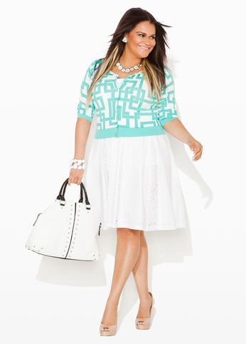 Ashley Stewart Geo Print Crop Cardigan, Crochet Trim Pleated Poplin Skirt and Silver Stud Satchel Bag