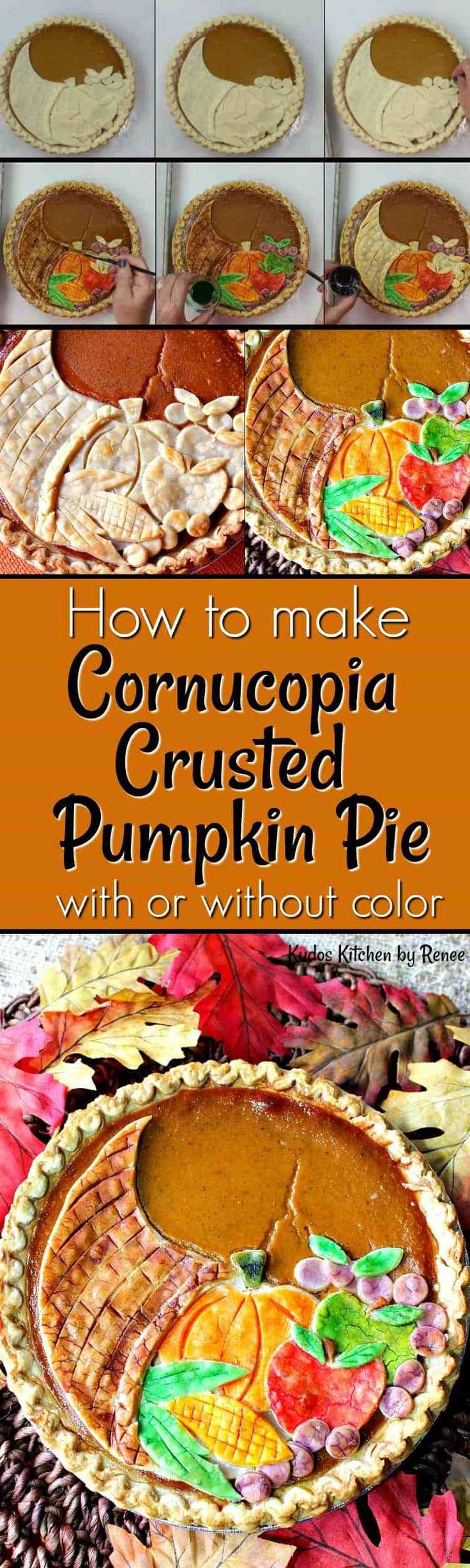 Kick up your pumpkin pie game this Thanksgiving by making this Festive Cornucopia Crusted Pumpkin Pie. It's easier to make than you may think. Let me show you how. - Kudos Kitchen by Renee