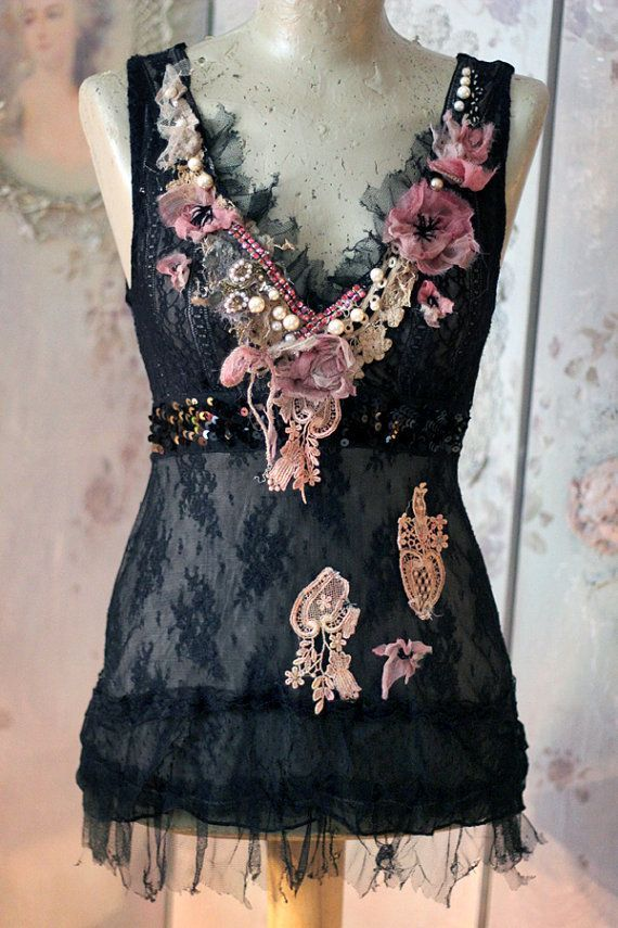 Faded florals top,  -bohemian romantic , sz- S  altered couture, embroidered and beaded details,old laces