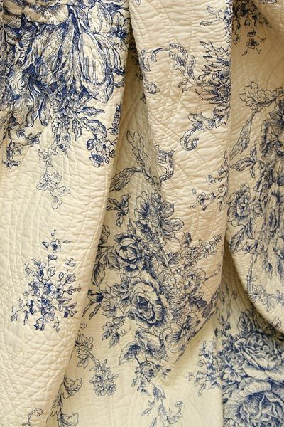 French Bedspreads on Ballard French Country Blue Toile Quilt Throw Detail