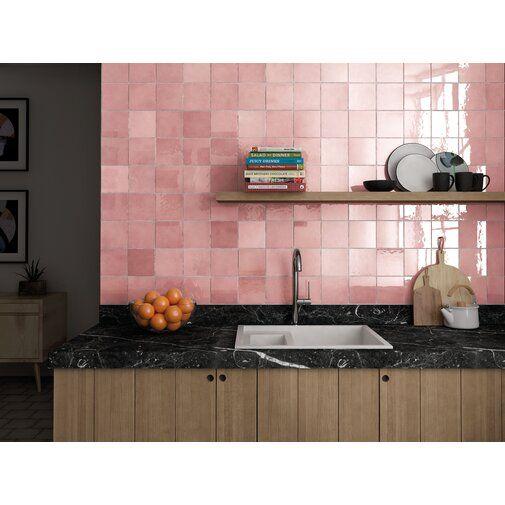 Cloe 5″ x 5″ Ceramic Mosaic Tile in Pink