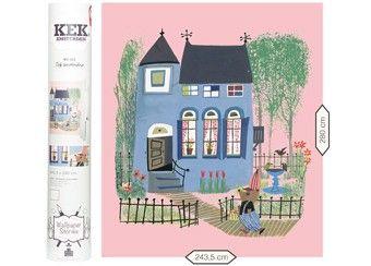 fotobehang Fiep Westendorp 'Blauw huis met beer / roze' KEK Amsterdam   kinderen-shop Kleine Zebra