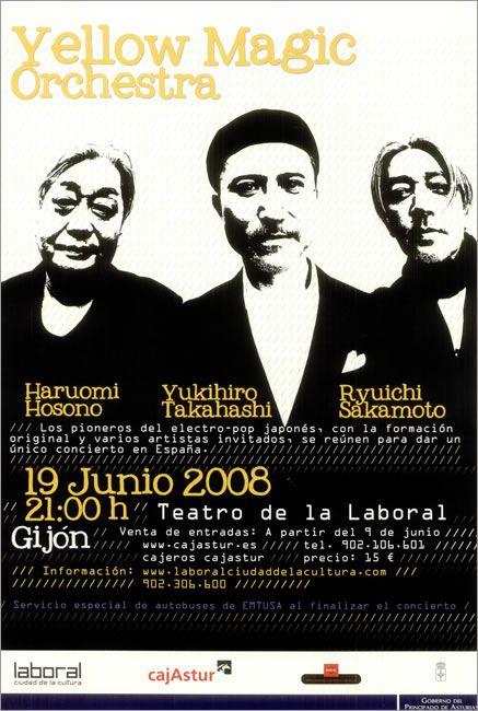 YELLOW MAGIC ORCHESTRA Gijon Tour Poster 2008 Spanish promotional tour poster