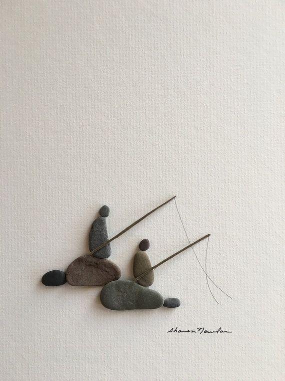 Fishing pebble art of ns by sharon nowlan van PebbleArt op Etsy