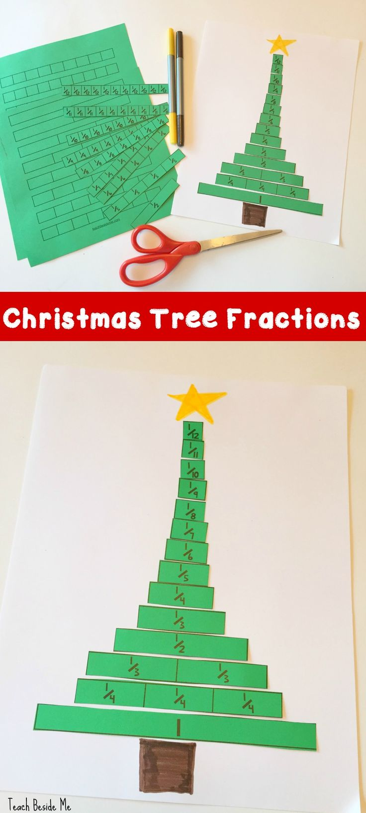 Fun and easy holiday math activity: Christmas Tree Fractions (with free printable) via @karyntripp