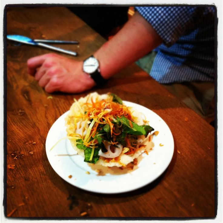 Vietnamese lotus root salad with shredded green papaya. All in a day's work at the @Food at 52 Cookery School kitchen in London.