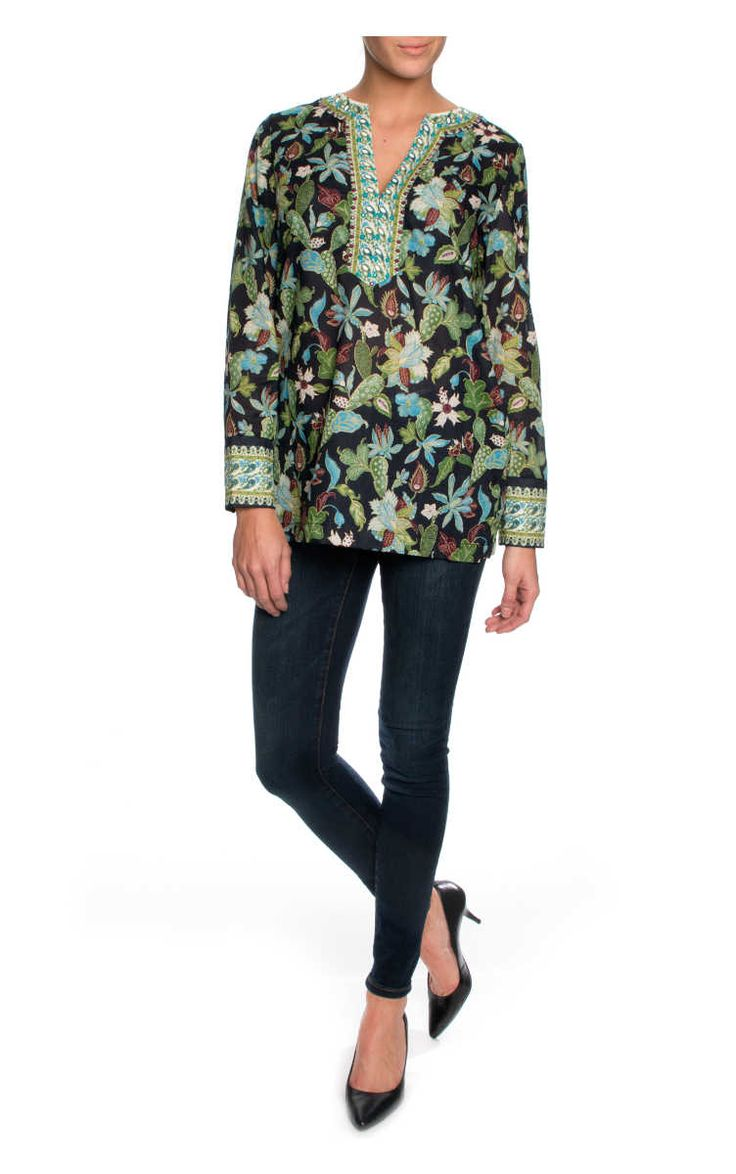 Topp Embellished Cotton Tunic GARDEN WISTERIA - Tory Burch - Designers - Raglady