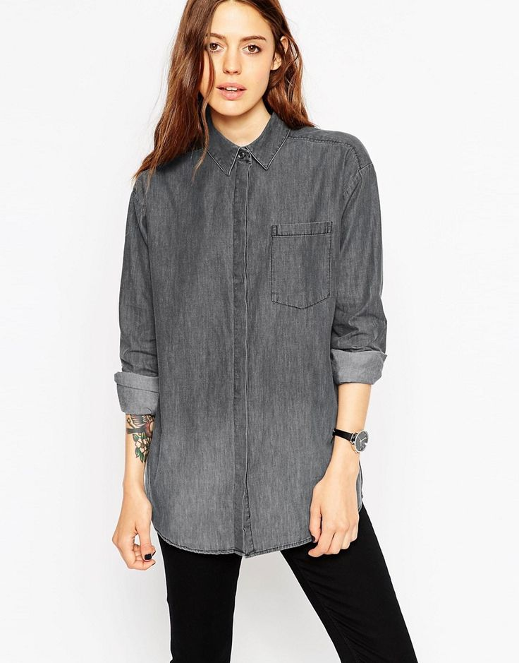 ASOS | Черная выбеленная рубашка бойфренда с асимметричным краем ASOS на ASOS