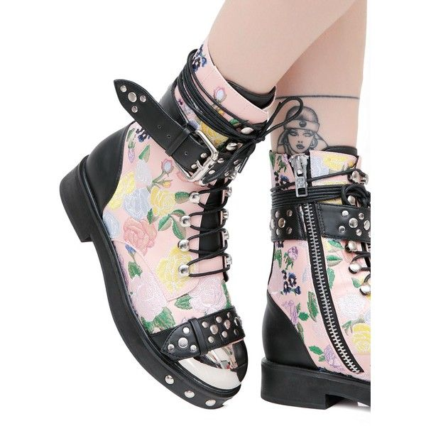 Current Mood Rosie Floral Combat Boots ($135) ❤ liked on Polyvore featuring shoes, boots, floral boots, floral shoes, floral print combat boots, floral combat boots and silver boots