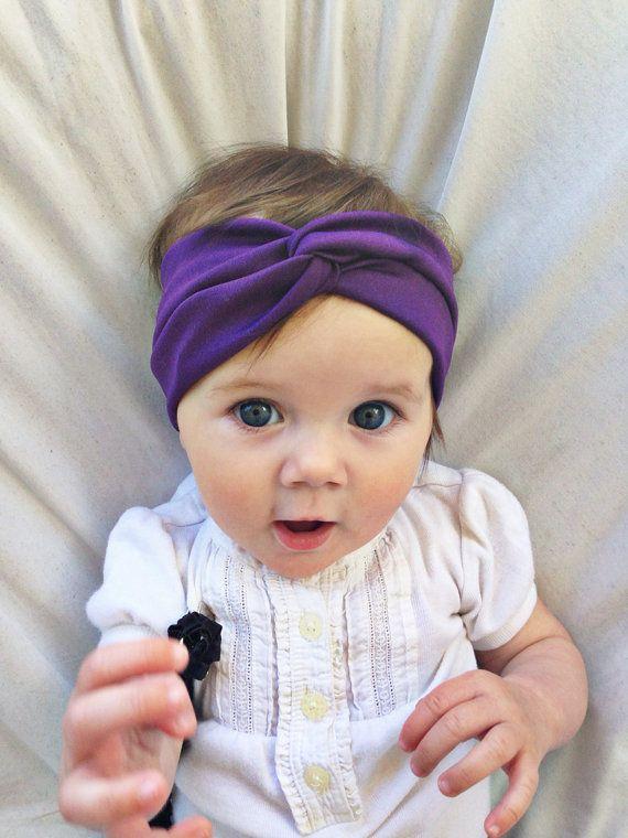 Dark purple baby turban by turbansfortots on Etsy