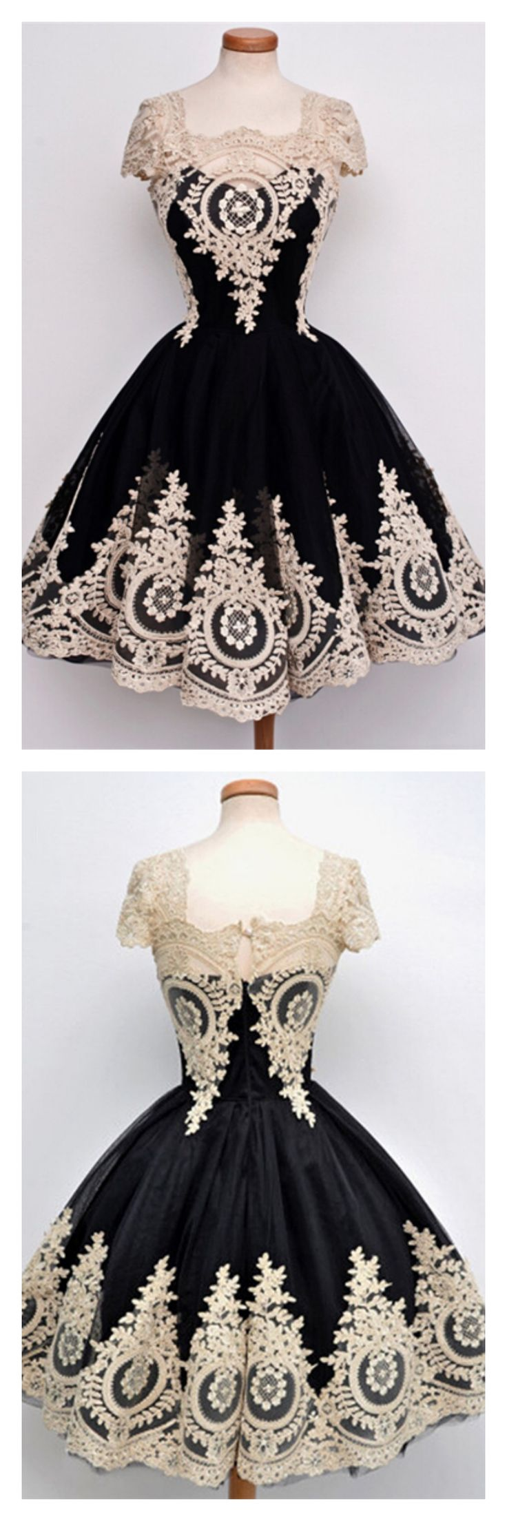 2017 gorgeous homecoming dresses, vintage short prom dresses, applique party dresses # SIMIBridal