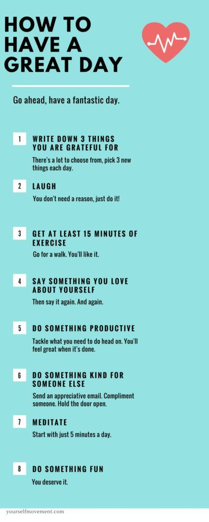 8 Steps to having an awesome day infographic