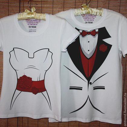 """Купить Футболки """"Свадебный Наряд"""" (783) - парные футболки, печать на футболках, футболка с рисунком"""