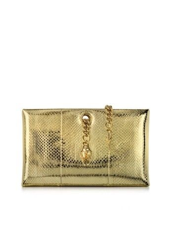 SERPENT EVENING PLATINUM AYERS CLUTCH ROBERTO CAVALLI