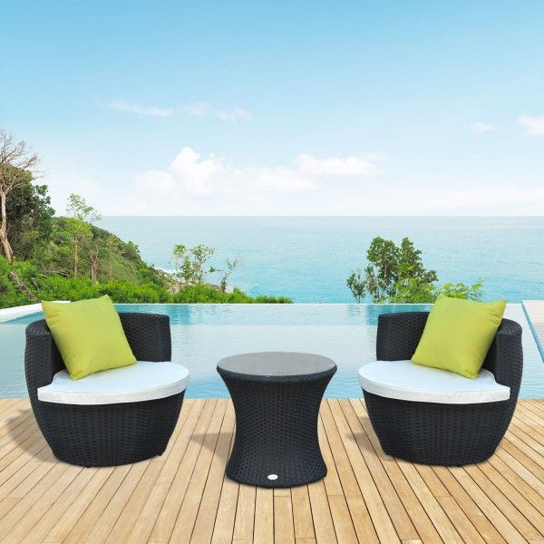 Outsunny 3 Pcs Rattan Vase Set Black In 2020 Home Coffee Tables