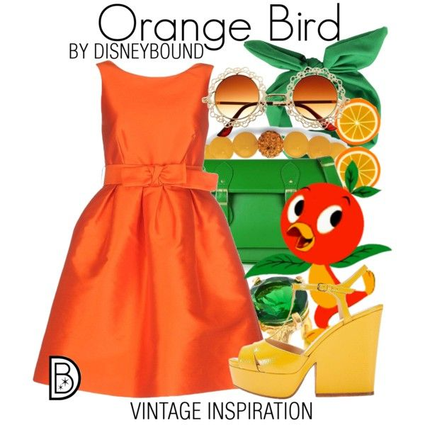 Orange Bird by leslieakay on Polyvore featuring P.A.R.O.S.H., Sergio Rossi, Palm Beach Jewelry, Chupi, vintage, disney and disneybound