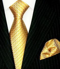 Black Suit with Gold Tie and Gold Pocket Square