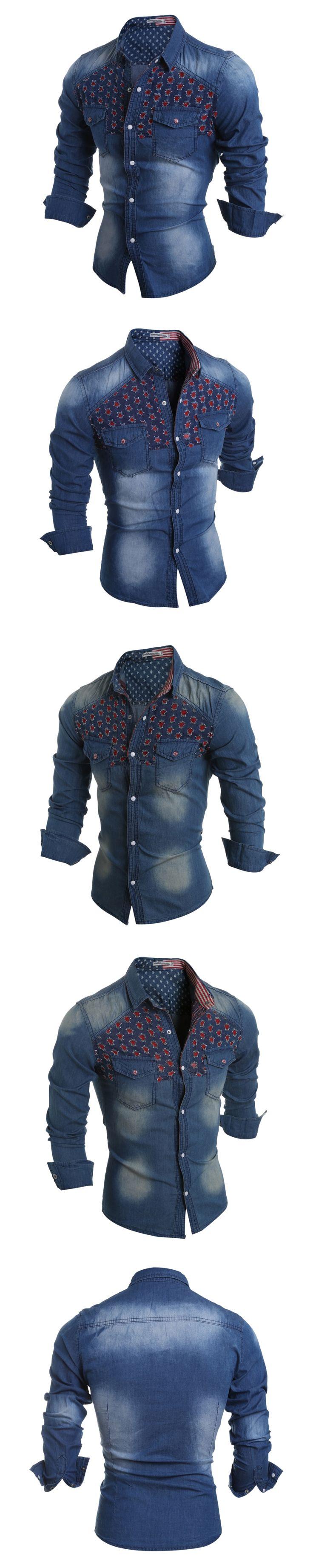 Men Shirt Size:M-2XL Hot Sale Fashion Casual Autumn Winter Men's Washed Stitching Denim Shirts